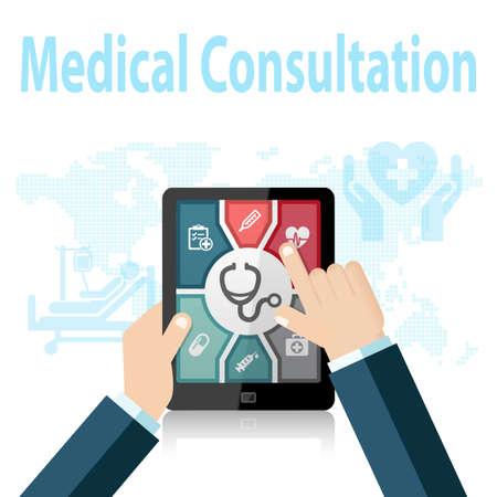 consulta médica: Consulta Médica Online Aplicaciones Médico de dispositivo móvil Foto de archivo