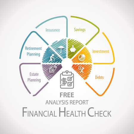 Financial Health Check Analysis Planning Infographic Banco de Imagens