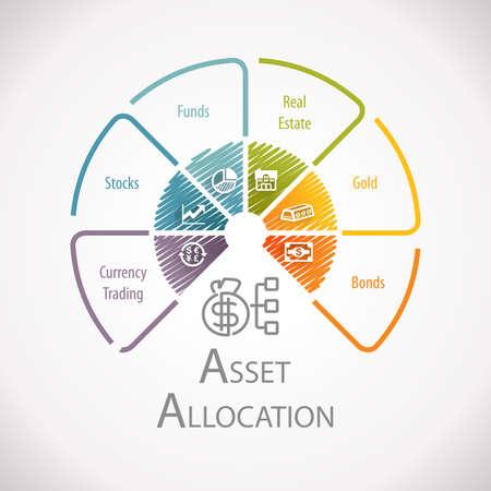 자산 배분 자산 관리 투자 옵션 인포 그래픽 스톡 콘텐츠