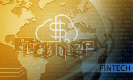 Fintech Financial Technology Business Banking Service-Hintergrund Standard-Bild - 63144744