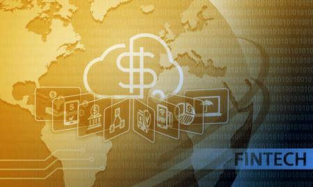 Fintech Financial Technology Business Banking Service Background Stock Photo - 63144752