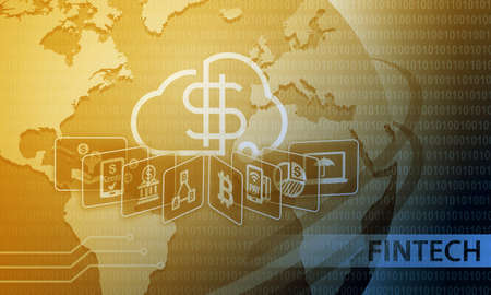 Fintech Financial Technology Business Banking Service Background Reklamní fotografie