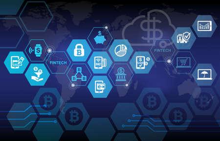 Fintech Financial Technology Business Banking Service-Hintergrund Standard-Bild - 63144777