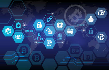 Bitcoin Electronic Crypto Currency Concept Background Standard-Bild