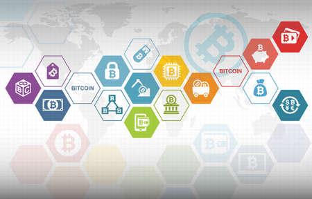 Bitcoin 電子暗号通貨概念の背景 写真素材