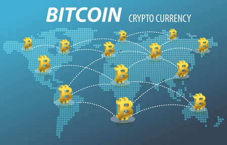 Bitcoin Electronic Crypto Currency Transaction Concept 스톡 콘텐츠