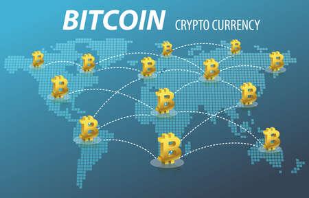 Bitcoin electrónica Crypto Transacción Concepto Moneda