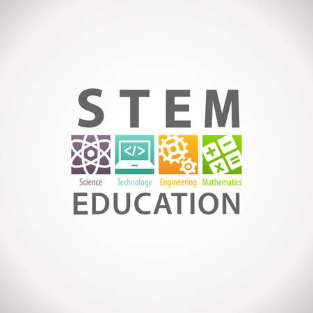 educational: STEM Education Concept Logo. Science Technology Engineering Mathematics. Stock Photo