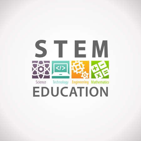 vzdělávací: STEM vzdělávací koncepce logo. Věda Technologie Engineering Mathematics. Reklamní fotografie