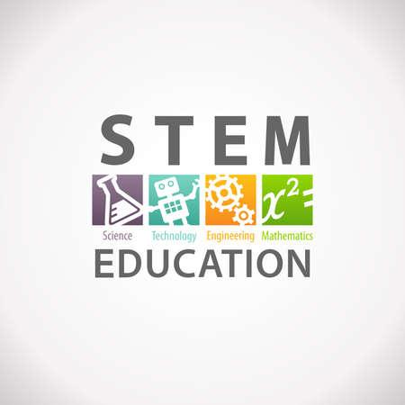 Concepto de la educación STEM logotipo. Ciencia Tecnología Matemáticas Ingeniería. Foto de archivo