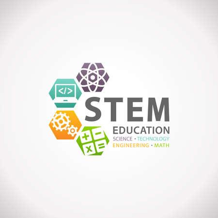 Concepto de la educación STEM logotipo. Ciencia Tecnología Matemáticas Ingeniería.