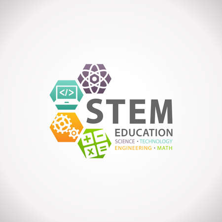 STEM Education Concept Logo. Science Technology Engineering Mathematics. Stock Photo