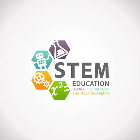 stem: STEM Education Concept Logo. Technologie Sciences Mathématiques Ingénierie.