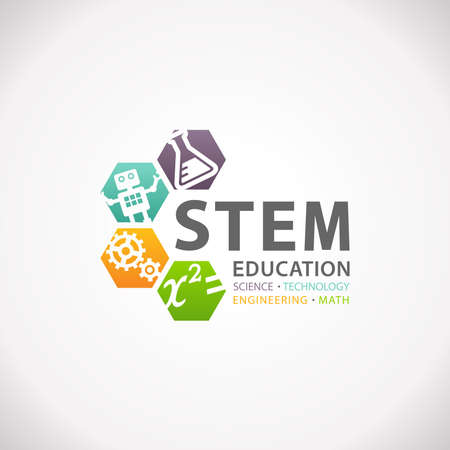 STEM Education Concept Logo. Wissenschaft, Technologie, Ingenieurmathematik.