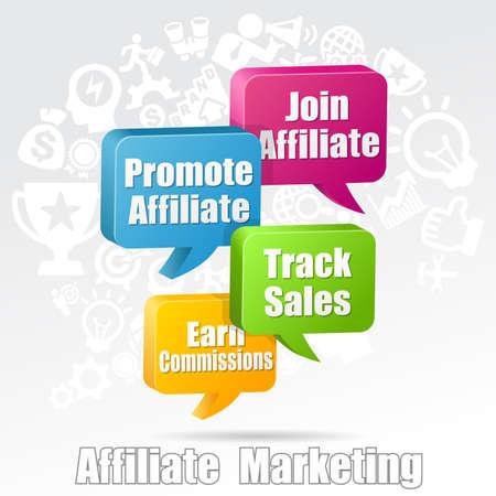 commissions: Affiliate Marketing Referral Program Speech Bubbles Stock Photo