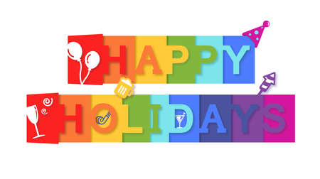 Happy Holiday Message Text with Celebration Concept Stock Photo
