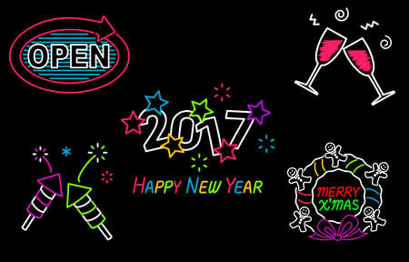 neon light: Happy New Year and Merry Christmas Neon Sign