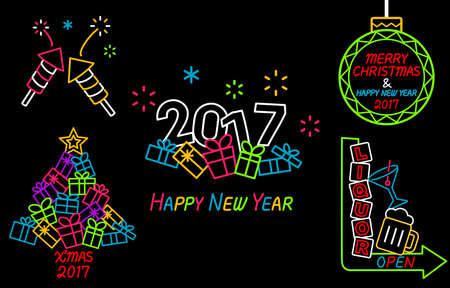 happy new years: Happy New Year and Merry Christmas Neon Sign