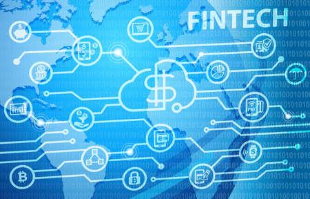 Fintech Financial Technology Business Banking Service Background