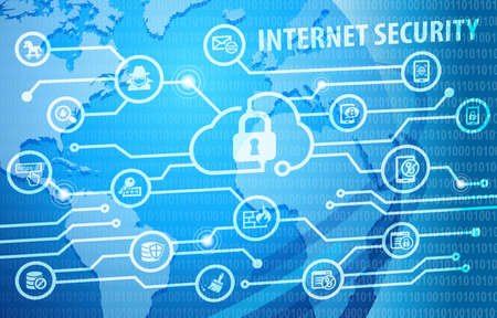 Internet Cyber Security Concept Background with various useful icons Stock Photo