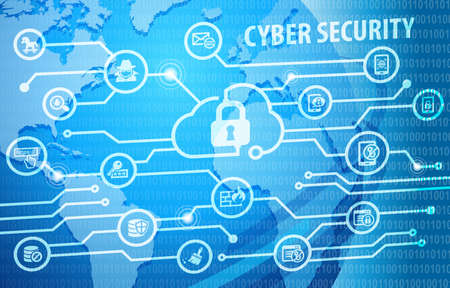 Cyber Internet Security Concept Background with various useful icons
