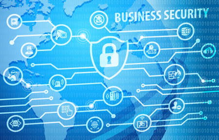 Business Security Protection Concept Background with various icons Stock Photo