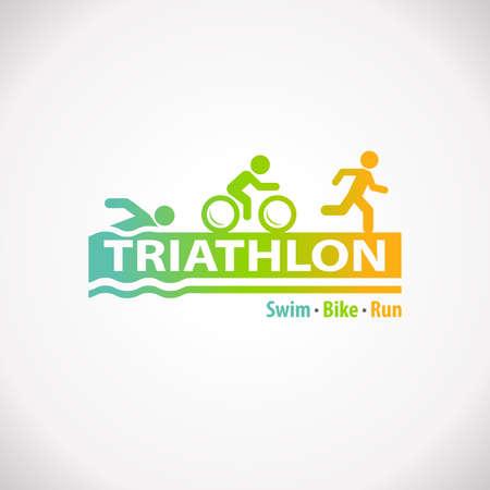 Triathlon swim bike run fitness symbol icon Stock Photo