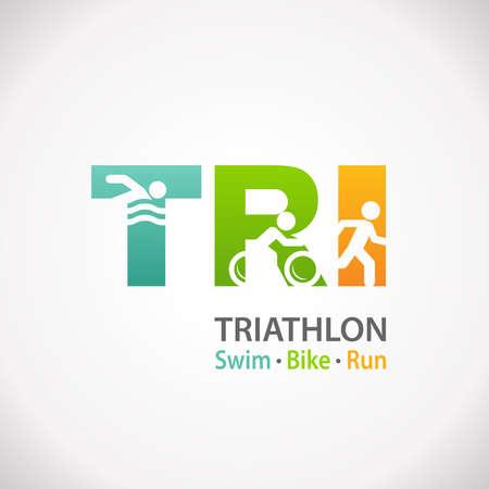 swim race: Triathlon swim bike run fitness symbol icon Stock Photo