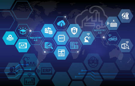 Industry 4.0 Wheel Background with various icons