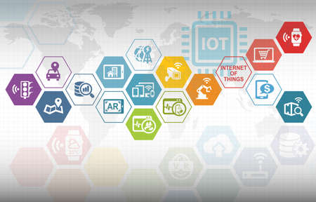 Internet of Things IOT Background with various icons Stock Photo