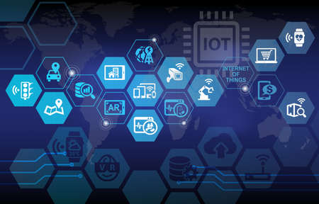 Internet of Things IOT Background with various icons Banque d'images