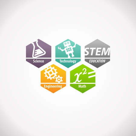 engineering and technology: STEM Education Concept Logo. Science Technology Engineering Mathematics. Stock Photo
