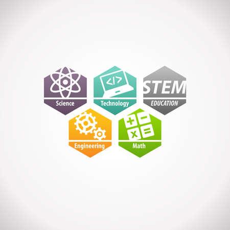 STEM Education Concept Logo. Science Technology Engineering Mathematics. Stock Photo