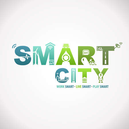 Smart City Funziona in diretta Smart Design Text Infographic Archivio Fotografico - 78968107