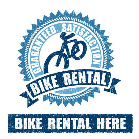 Bike Bicycle Rental Rubber Stamp on white background Stock Photo