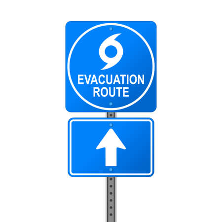Hurricane Evacuation Route Emergency Sign Stock Photo