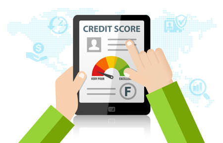 Checking Credit Score Financial Report Online Rating Record on tablet