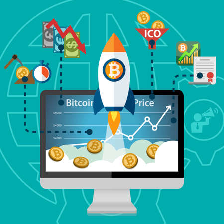 Bitcoin Electronic Crypto Currency Price Rocket Boost on the rise