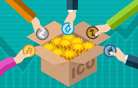 Offre initiale de pièces de monnaie d'ICO Bitcoin Concept de collecte de fonds d'échange de monnaie électronique numérique de monnaie électronique Banque d'images