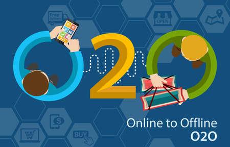 Online to Offline O2O Shopping Retail Experience Concept Infographic Foto de archivo