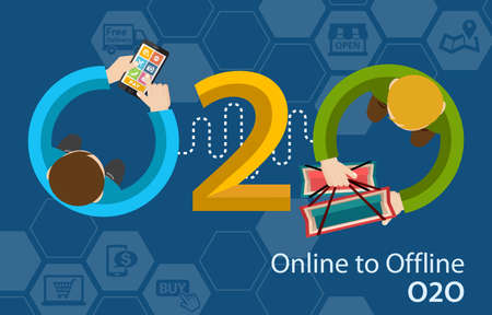 Online to Offline O2O Shopping Retail Experience Concept Infographic Stock Photo