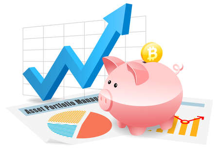 Bitcoin savings in piggybank investment planning for future Stock Photo