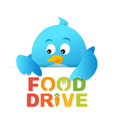Blue bird appeals food drive donation to deliver hope Stock Photo
