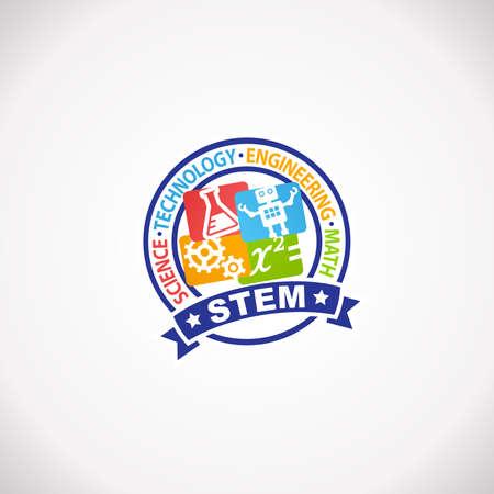 STEM Education Rubber Stamp Logo. Science Technology Engineering Mathematics.
