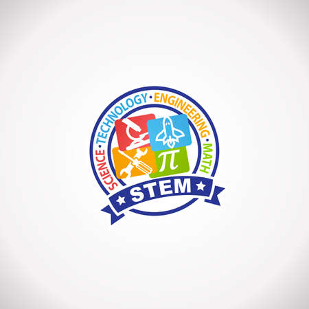 STEM Education Rubber Stamp Logo. Science Technology Engineering Mathematics.