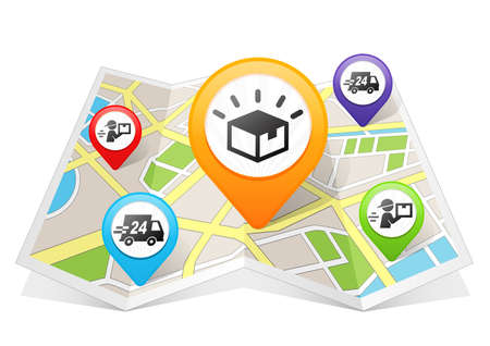 Logistics and Delivery Map pointer Location Destination on map