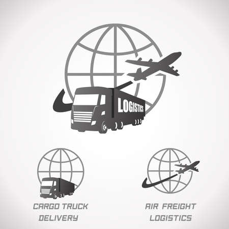 Logistics and Delivery Logo. Cargo Truck and Freight Illustration