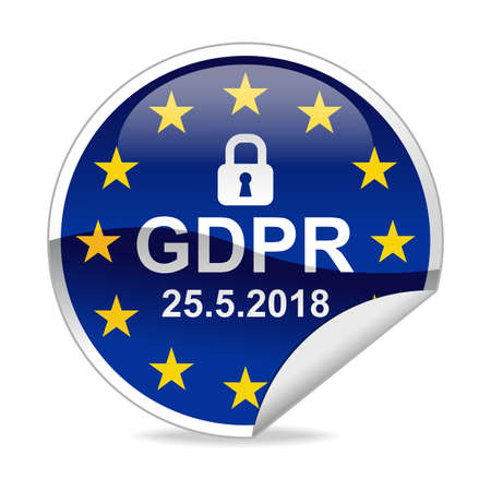 GDPR General Data Protection Regulation  Notification Sticker Stock Photo