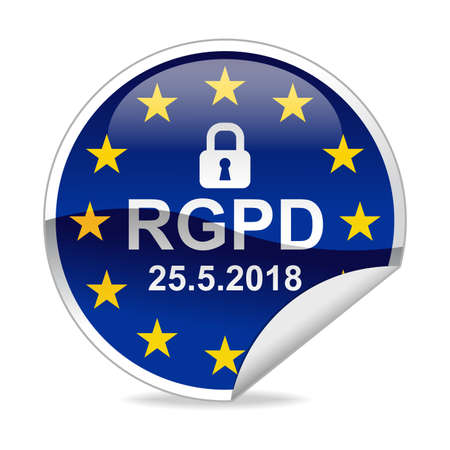 RGPD General Data Protection Regulation  Notification Sticker Stock Photo