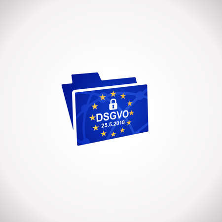 DSGVO General Data Protection Regulation Notification Icon. Illustration